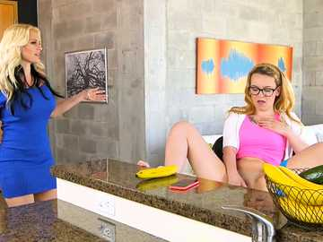 Steaming blonde in glasses Haley Mae gets her pussy tasted by the frivolous milf Alena Croft