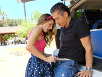 Skinny brunette Kimmy Granger shows off sex toys in outdoor blowjob scene