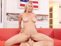 Nasty blonde Alexis Fawx rides the big cock to get some cum in mouth after