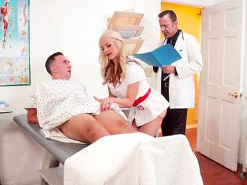 Horny blonde Sarah Vandella treats her patient's hard on with her playful mouth