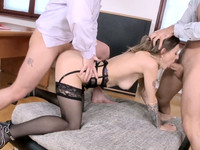 Natasha Starr is having wonderful office fuck with two handsome lads