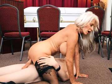 Slutty mature widow Sally D'Angelo takes a comforting cock at the funeral