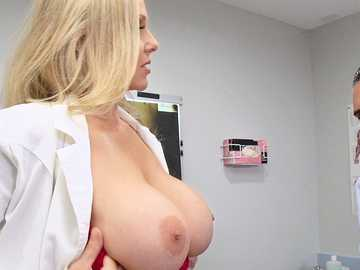 Julia Ann lends the sperm donor Keiran Lee a helping hand and a blowjob