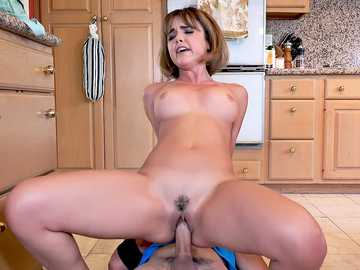 Dillion Harper passionately rides cock of her stepbrother in the kitchen