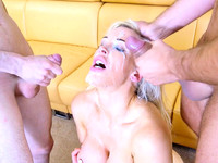 Double penetration in threesome of raunchy couple fantasies of Rebecca Moore