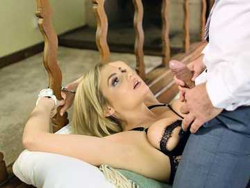 Katy Jayne got handcuffed to bed and put through intense throat fucking
