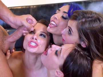 Hard-on Keiran Lee gets surrounded by Aidra Fox, Janice Griffith, Lana Rhoades and Riley Reid